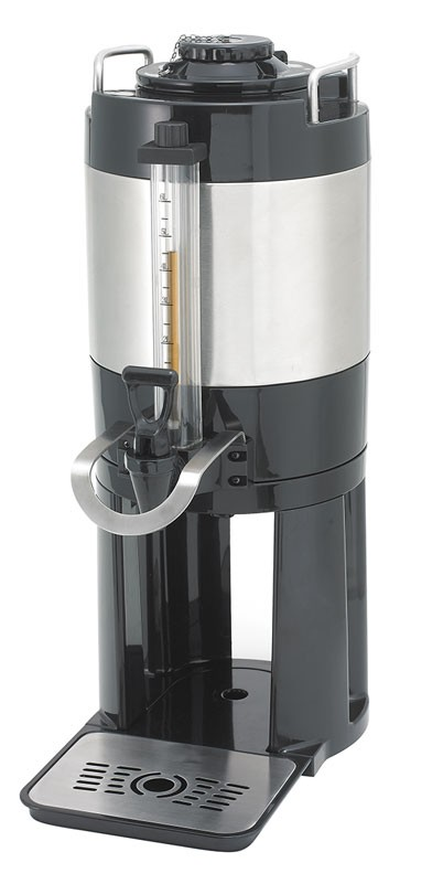 Stainless Steel Beverage Dispenser, Brew-thru Lid with Sight Glass and Removable Base, 6.0 L