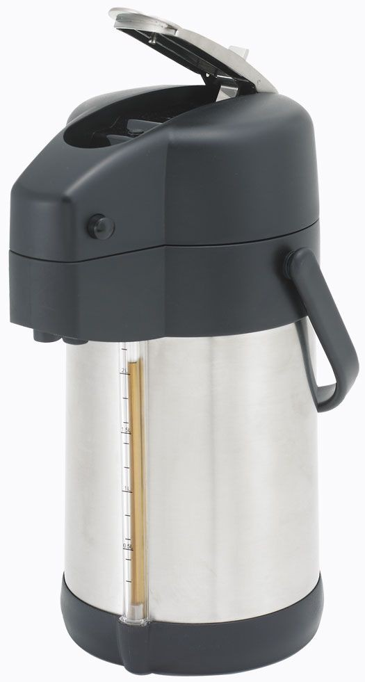 Winco APSG-22 Stainless Steel Lined Airpot with Sight Glass Lever Top 2.2 Liter