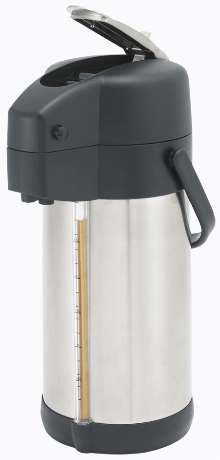 Winco APSG-30 Stainless Steel Lined Airpot with Sight Glass Lever Top 3.0 Liter