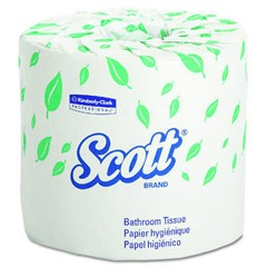 SCOTT Standard Roll Bathroom Tissue, 2-Ply, 4.1 x 4 Sheet, 605 Sheets/Roll