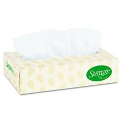 SURPASS 100% Recycled Fiber Facial Tissue, 2-Ply, Flat Box, 125/Box
