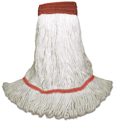 Saddleback Loop-End Wet Mop Heads, Large, White, Rayon, 12/Carton