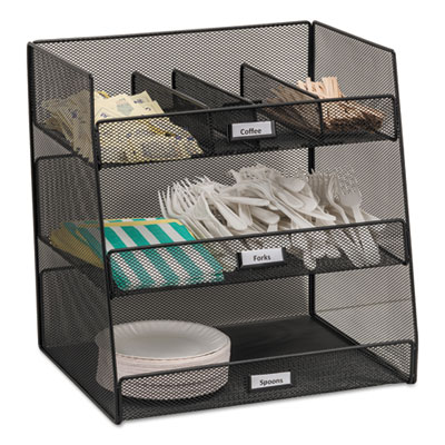 Safco Onyx Black Mesh Steel 3-Compartment Condiment Organizer