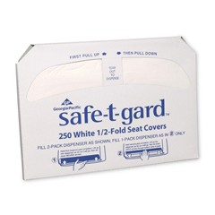 Safe-T-Gard™ 1/2-Fold Toilet Seat Covers, White