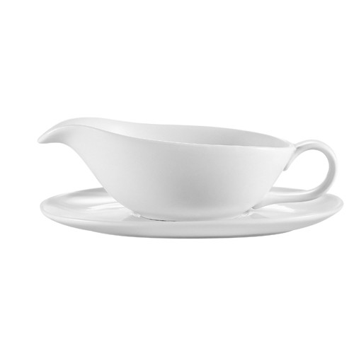 CAC China SBT-20 Accessories Sauce Boat with Saucer Set 20 oz.