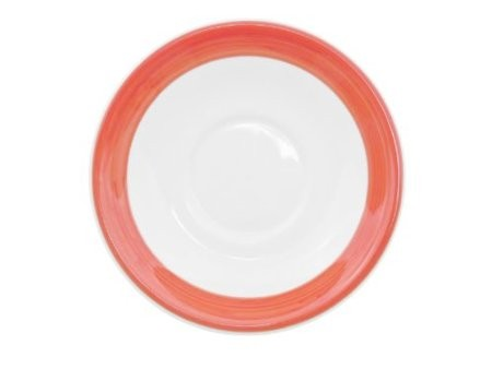 """CAC China R-2-R Rainbow Red Saucer, 6"""""""