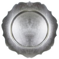 """Jay Companies 1182767 Scallop Silver Melamine 13"""" Charger Plate"""
