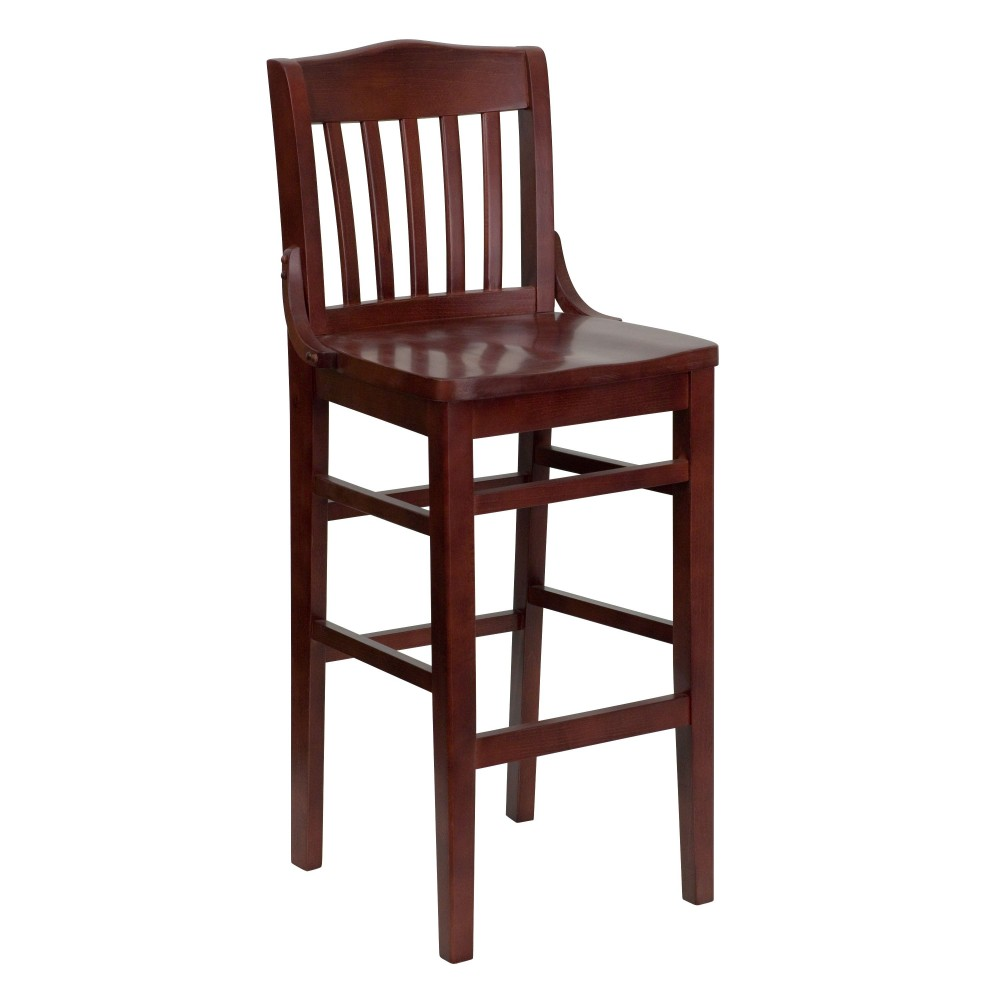 School House Barstool with Mahogany Finish and Mahogany Seat