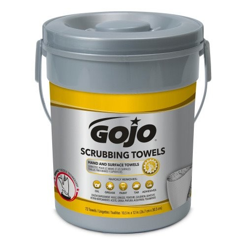 Scrubbing Towels, Hand Cleaning, Silver/Yellow, 10 1/2 x 12, 72/Bucket, 6/Carton