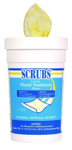 Scrubs Antimicrobial Hand Wipes, Lemon