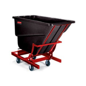 Self-Dumping Plastic Hopper,   1000-lb Cap., Black