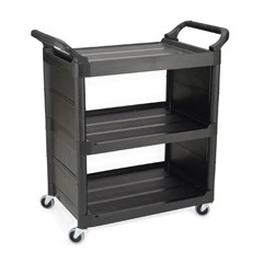 Service Cart, 150-lb Cap., 3 Shelves, 18 5/8w x 33 5/8d x 36 5/8h, Black