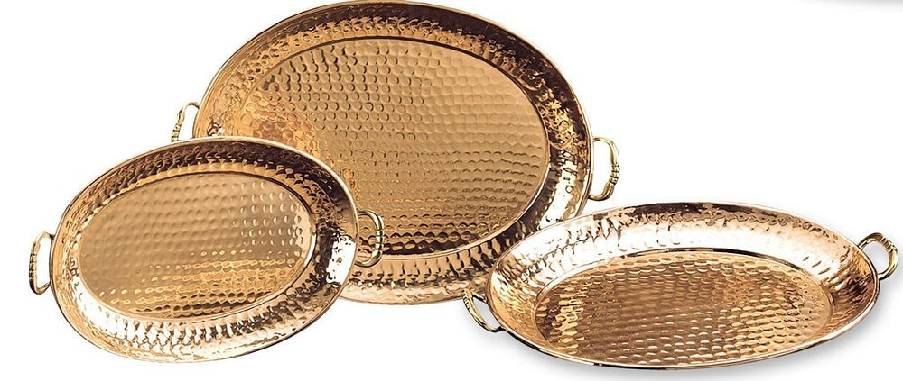 Old Dutch 250 Decor Copper Hammered Oval Trays, Set of 3