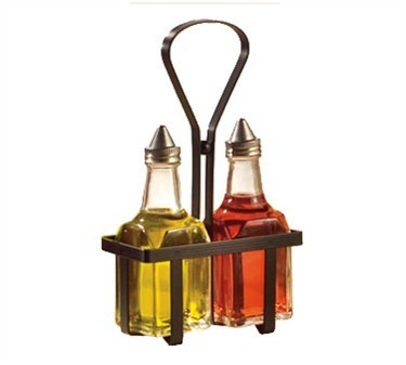 TableCraft 600NBK Set Of Oil & Vinegar Dispenser with Black Metal Rack
