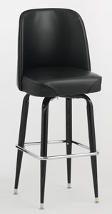 Royal Industries ROY 7714 Black Frame Bar Stool with Bucket Seat, Set of 2