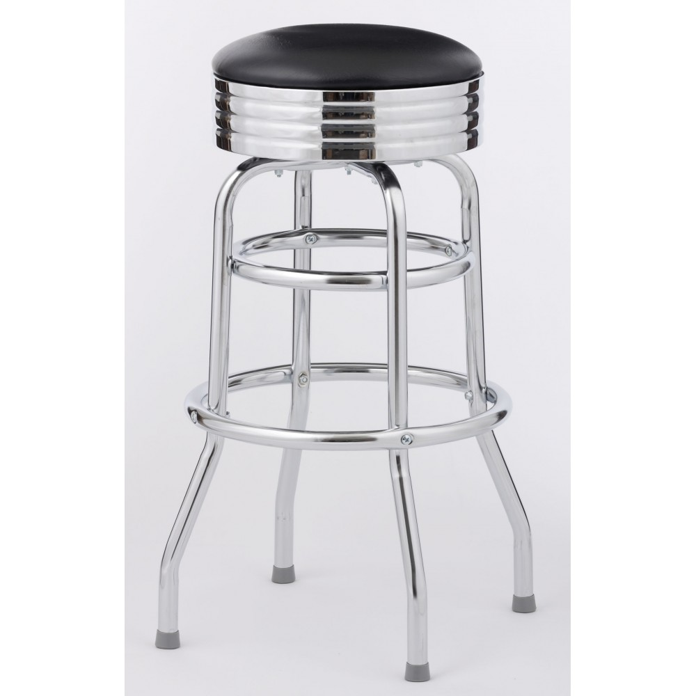 royal industries roy 7710 classic 1950 39 s diner bar stool with black seat set of 4 lionsdeal. Black Bedroom Furniture Sets. Home Design Ideas