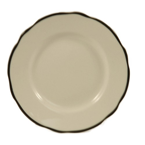 """CAC China SC-6B Seville Scalloped Edge Plate, with Black Band, 6 3/8"""""""