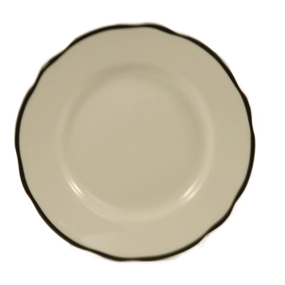 CAC China SC-6B Seville Scalloped Edge Plate, with Black Band, 6 3/8""
