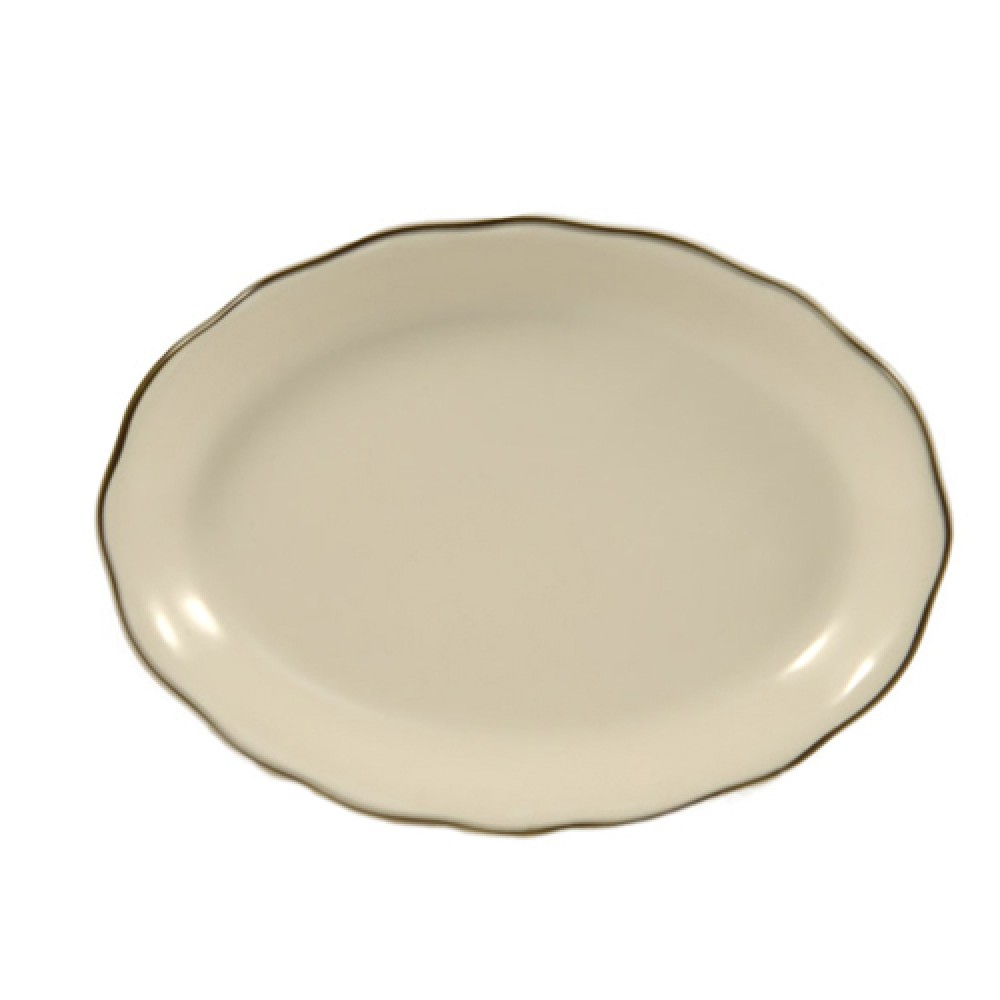 """CAC China SC-13B Seville Scalloped-Edge Oval Platter with Black Band 11 5/8"""" x 8 1/2"""""""