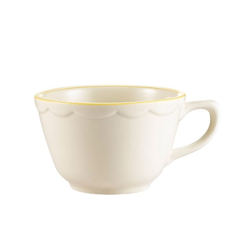 CAC China SC-1G Seville Scalloped Edge Tall Cup with Gold Band 7 oz.