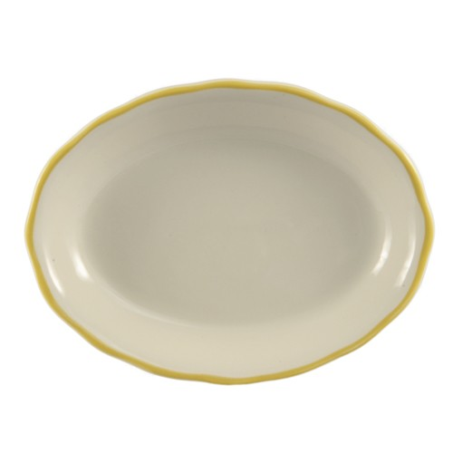 "CAC China SC-14G Seville Scalloped-Edge Oval Platter with Gold Band 12 5/8"" x 9 1/4"""