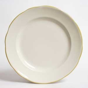 CAC China SC-7G Seville Scalloped Edge Plate, with Gold Band, 7 3/8""