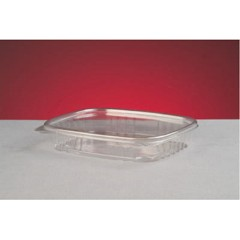 Shallow Clear Hinged Deli Container, Plastic, 16 oz, 7-1/4 x 6-2/5 x 1, 100/Bag