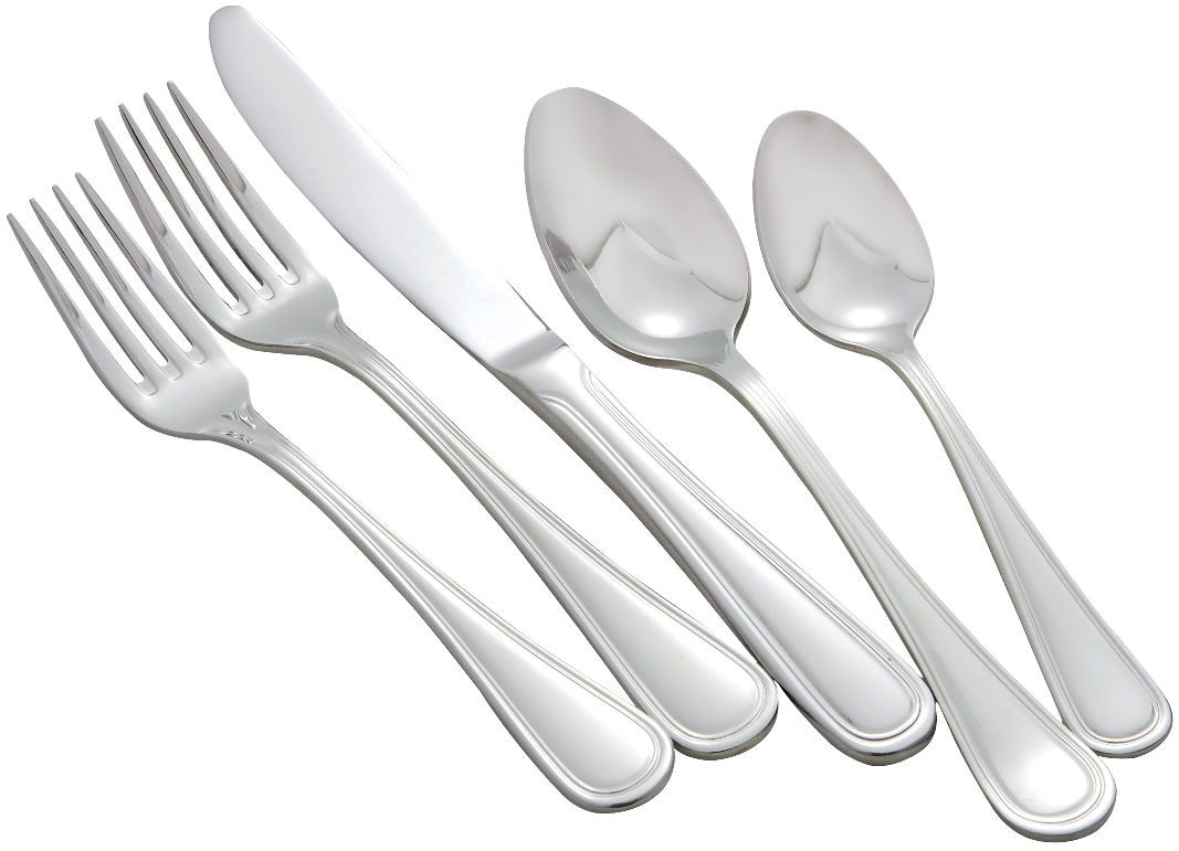 Winco SHANGARILA Shangarila Stainless Steel Stainless 5-Piece Place Setting for 12 (60/Pack)