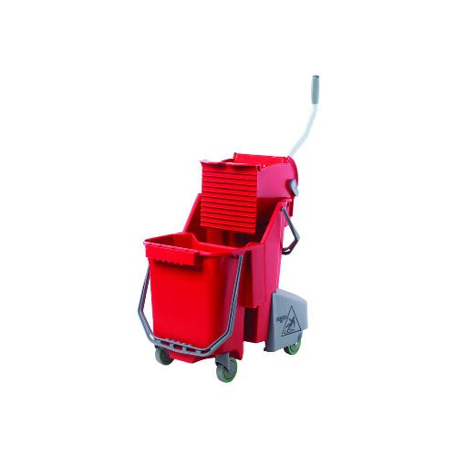 Side-Press Restroom Mop Bucket Combo, 8gal, Plastic, Red