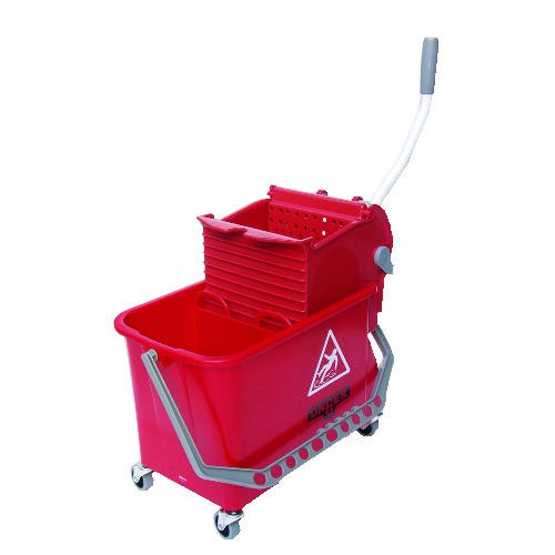 Side-Press Restroom Mop Bucket Combo, 4gal, Plastic, Red