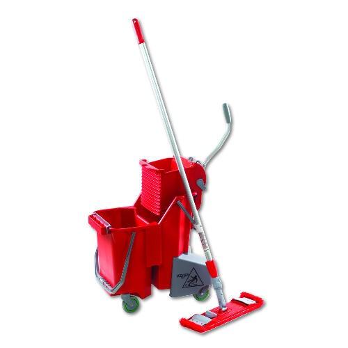 Side-Press Restroom Mop Bucket FloorPack, 8gal, Plastic, Red