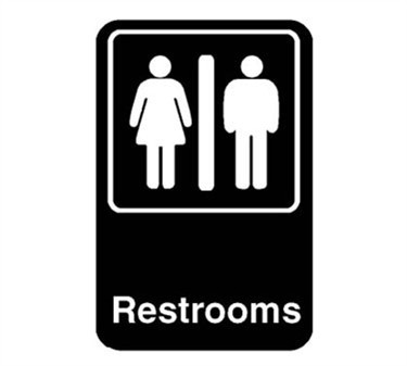 Franklin Machine Products  280-1165 Sign, Restroom (Black, 6X9)