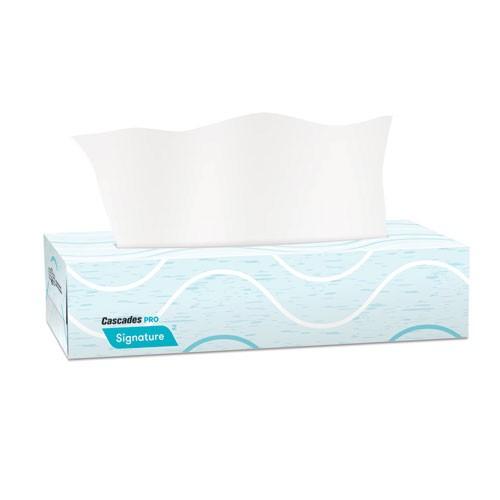 Signature Facial Tissue, 2-Ply, White, Flat Box, 100 Sheets/Box, 30 Boxes/Carton