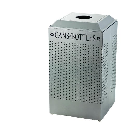 Silhouette Can/Bottle Recycling Receptacle, Square, Steel, 29 Gallon, Silver
