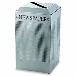 Silhouette Paper Recycling Receptacle, Square, Steel, 29 Gallon, Silver Metallic