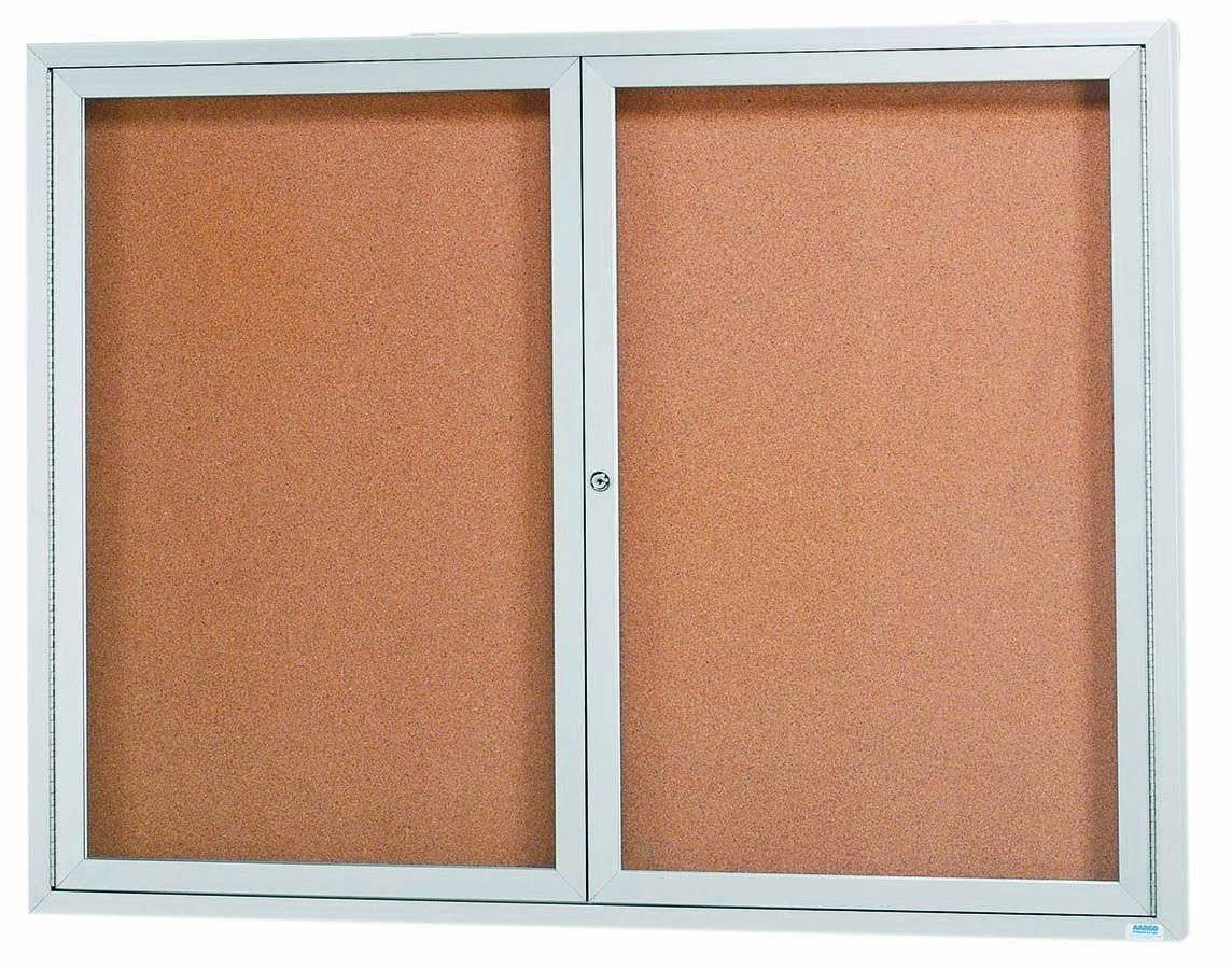 "Aarco Products DCC3648R 2 Door Indoor Enclosed Bulletin Board with Aluminum Frame, 36""H x 48""W"