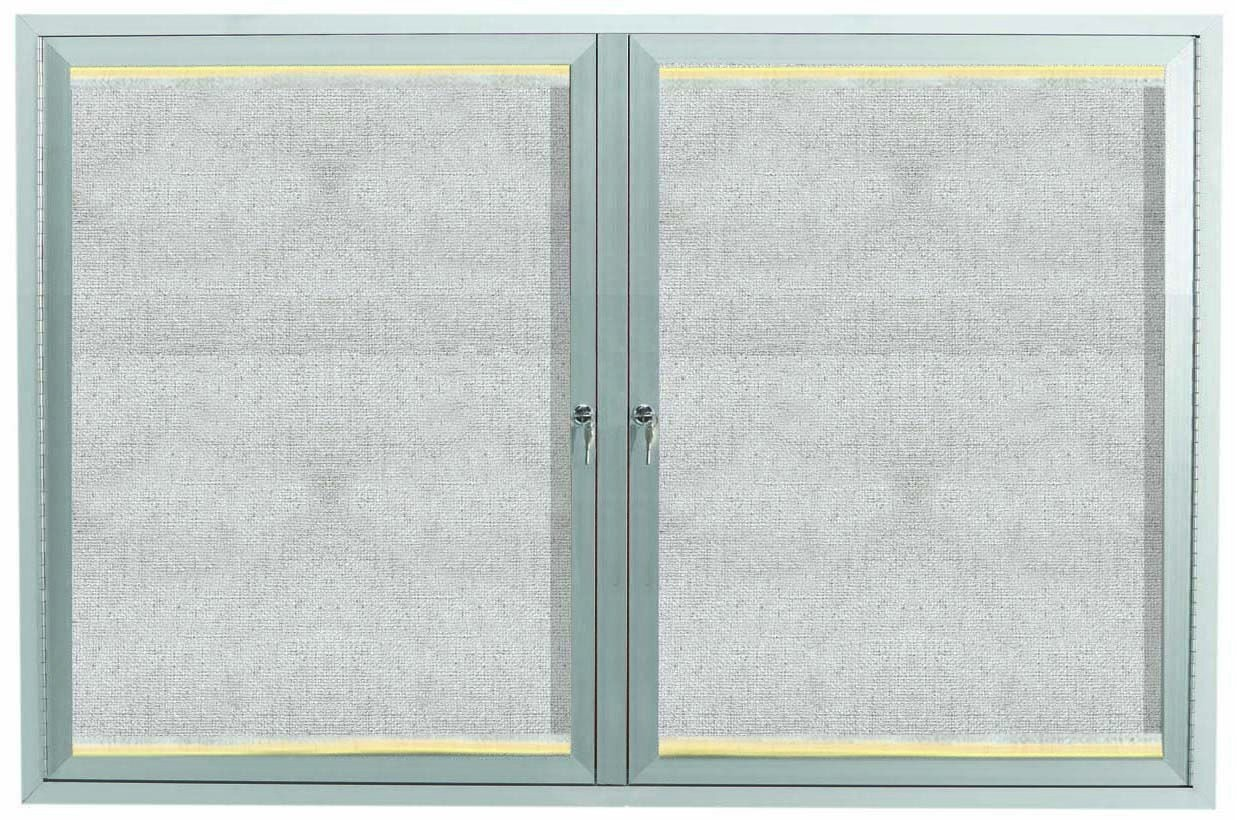 "Aarco Products LODCC3648R 2 Door Outdoor Aluminum Framed Enclosed Bulletin Board with LED Lighting and Satin Anodized Finish, 36""H x 48""W 2 Door"