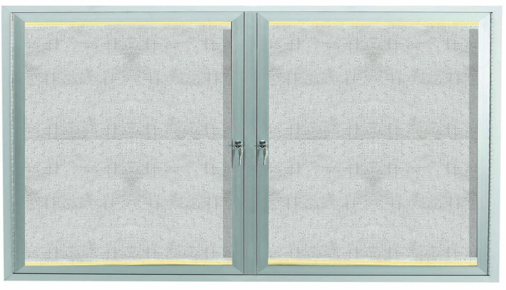 "Aarco Products LODCC3660R 2 Door Outdoor Aluminum Framed Enclosed Bulletin Board with LED Lighting and Satin Anodized Finish, 36""H x 60""W"