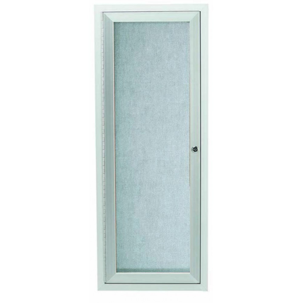"Aarco Products ODCC3612R Silver Outdoor Enclosed Aluminum Bulletin Board, 36""H x 12""W"
