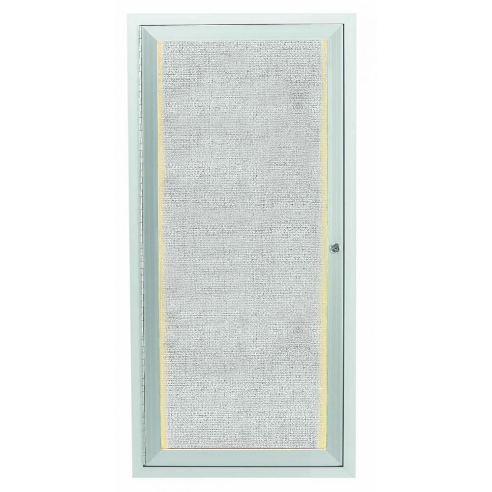"Aarco Products LODCC2412R 1 Door Outdoor Aluminum Framed Enclosed Bulletin Board with LED Lighting and Satin Anodized Finish, 24""H x 12"" W"