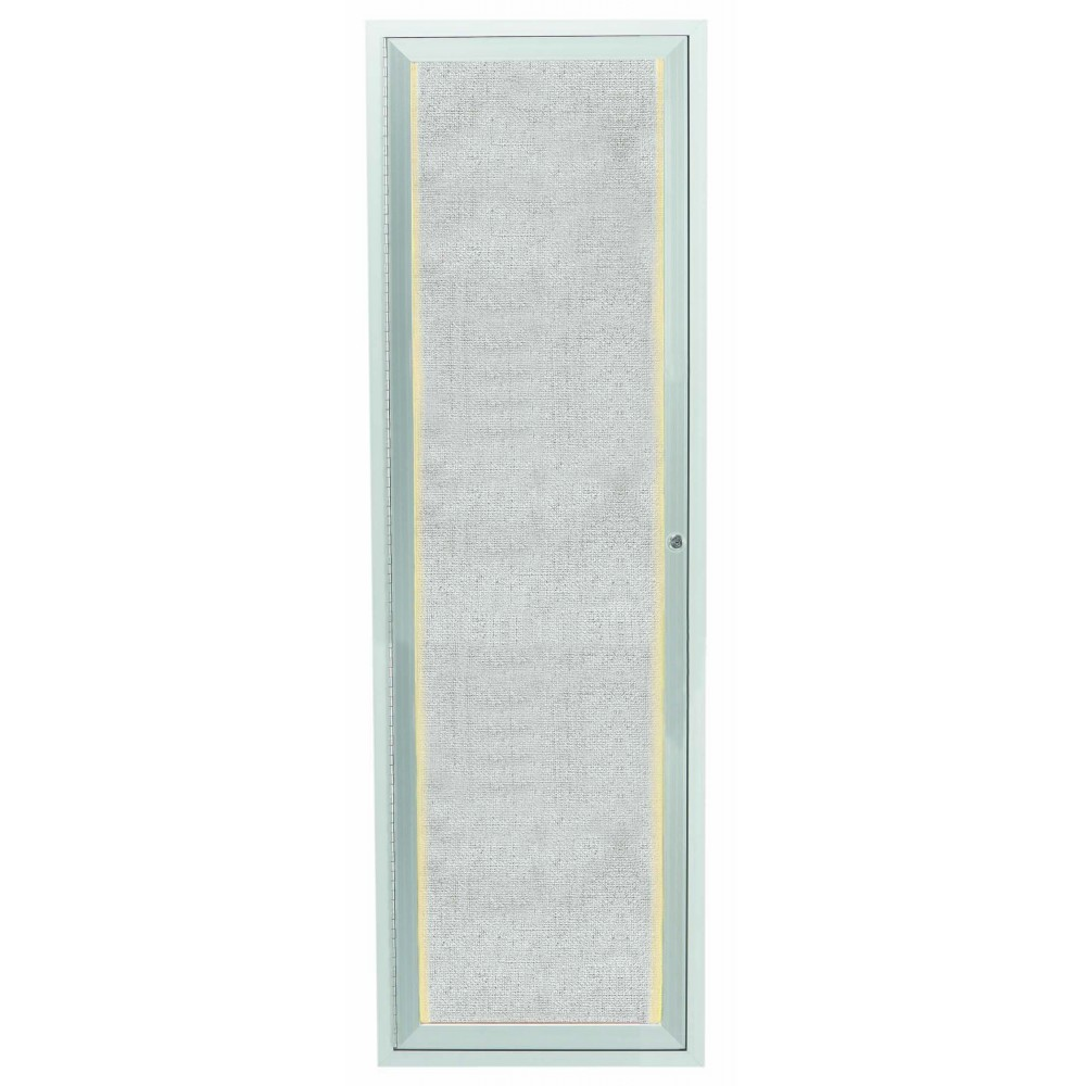 "Aarco Products LODCC3612R 1 Door Outdoor Aluminum Framed Enclosed Bulletin Board with LED Lighting and Satin Anodized Finish, 36""H x 12""W 1 door"