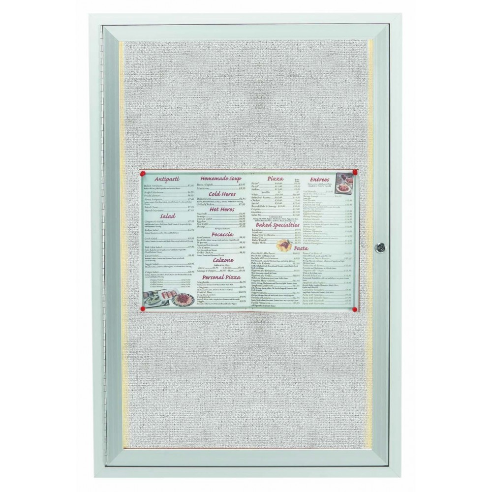 "Aarco Products LODCC3624R 1 Door Outdoor Aluminum Framed Enclosed Bulletin Board with LED Lighting and Satin Anodized Finish, 36""H x 24""W"