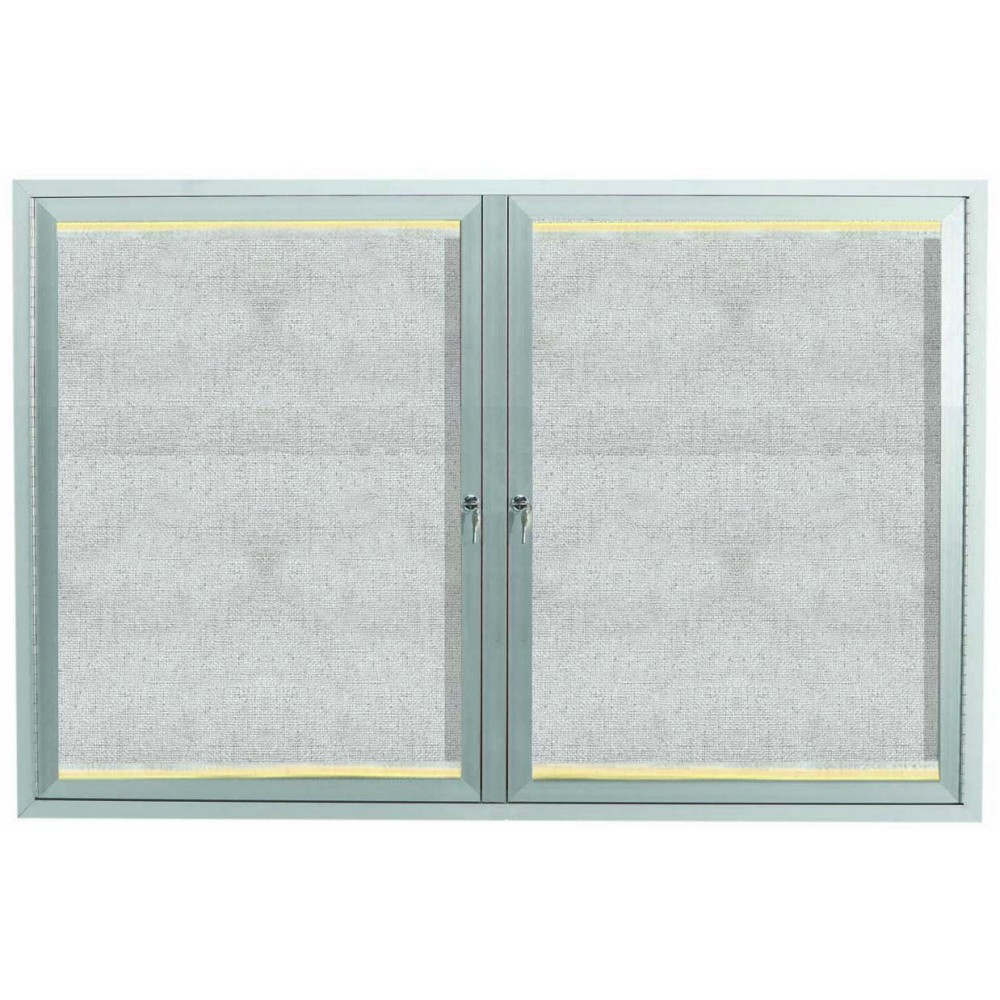 Silver Indoor / Outdoor Enclosed Aluminum Bulletin Board With LED Lighting- 36