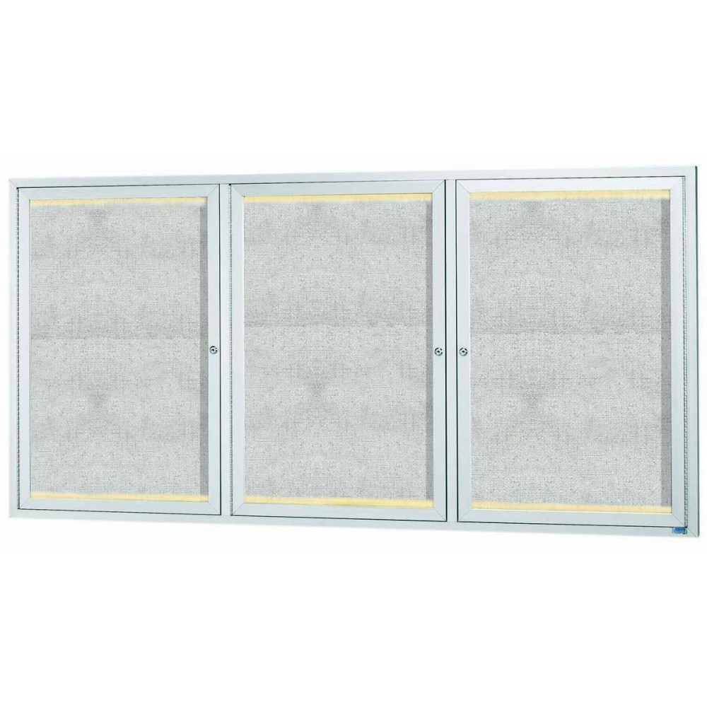 "Aarco Products LODCC3672-3R 3 Door Outdoor Aluminum Framed Enclosed Bulletin Board with LED Lighting and Satin Anodized Finish. 36""H x 72""W"