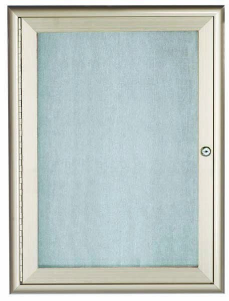 "Aarco Products OWFC2418 Silver Indoor/Outdoor Waterfall Series 1 Door Enclosed Bulletin Board, 24""H x 18""W"
