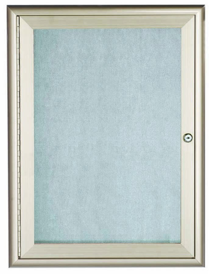 "Aarco Products OWFC3624 Silver Indoor/Outdoor Waterfall Series Enclosed Bulletin Board, 36""H x 24""W"