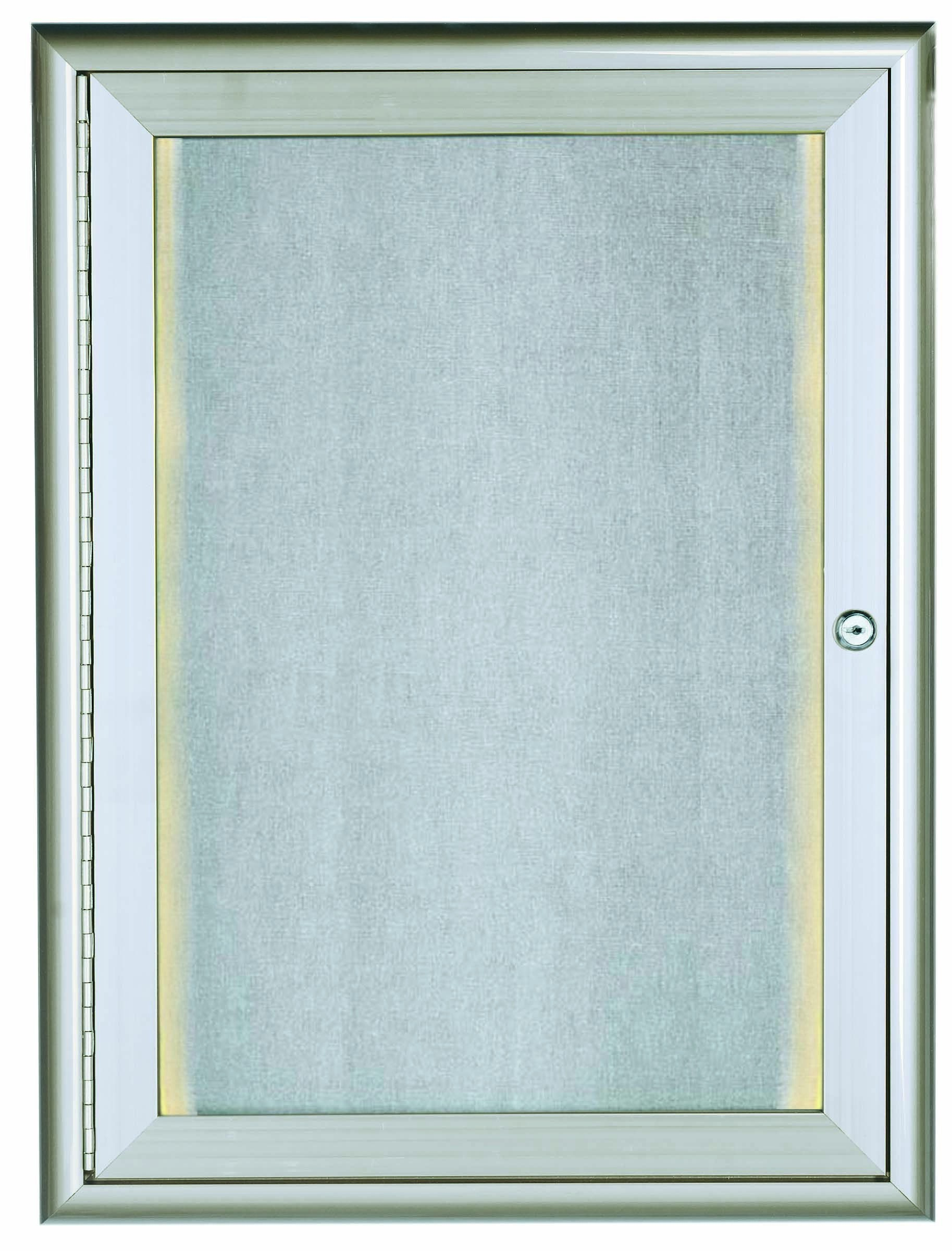 """Aarco Products LOWFC2418 1 Door LED Lighted Enclosed Bulletin Board with Aluminum Waterfall Style Frame Silver, 24""""H x 18""""W"""