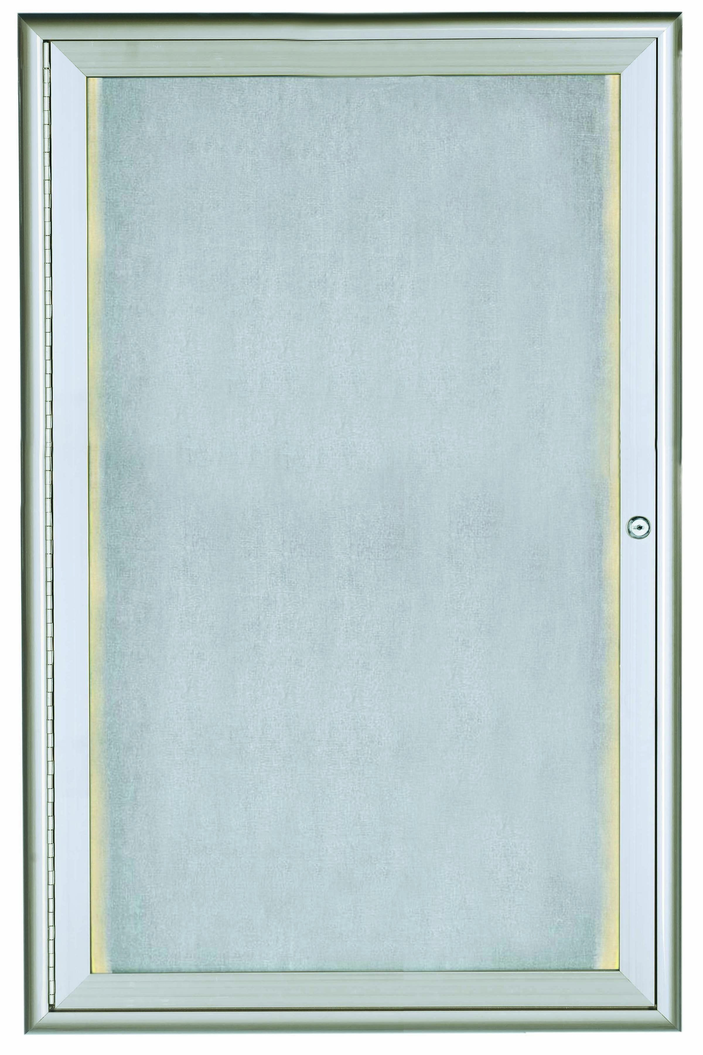 "Aarco Products LOWFC3624 1 Door LED Lighted Enclosed Bulletin Board with Aluminum Waterfall Style Frame Silver, 36""H x 24""W"