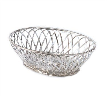 Silver Plated Oval Victorian Basket - 10-1/2