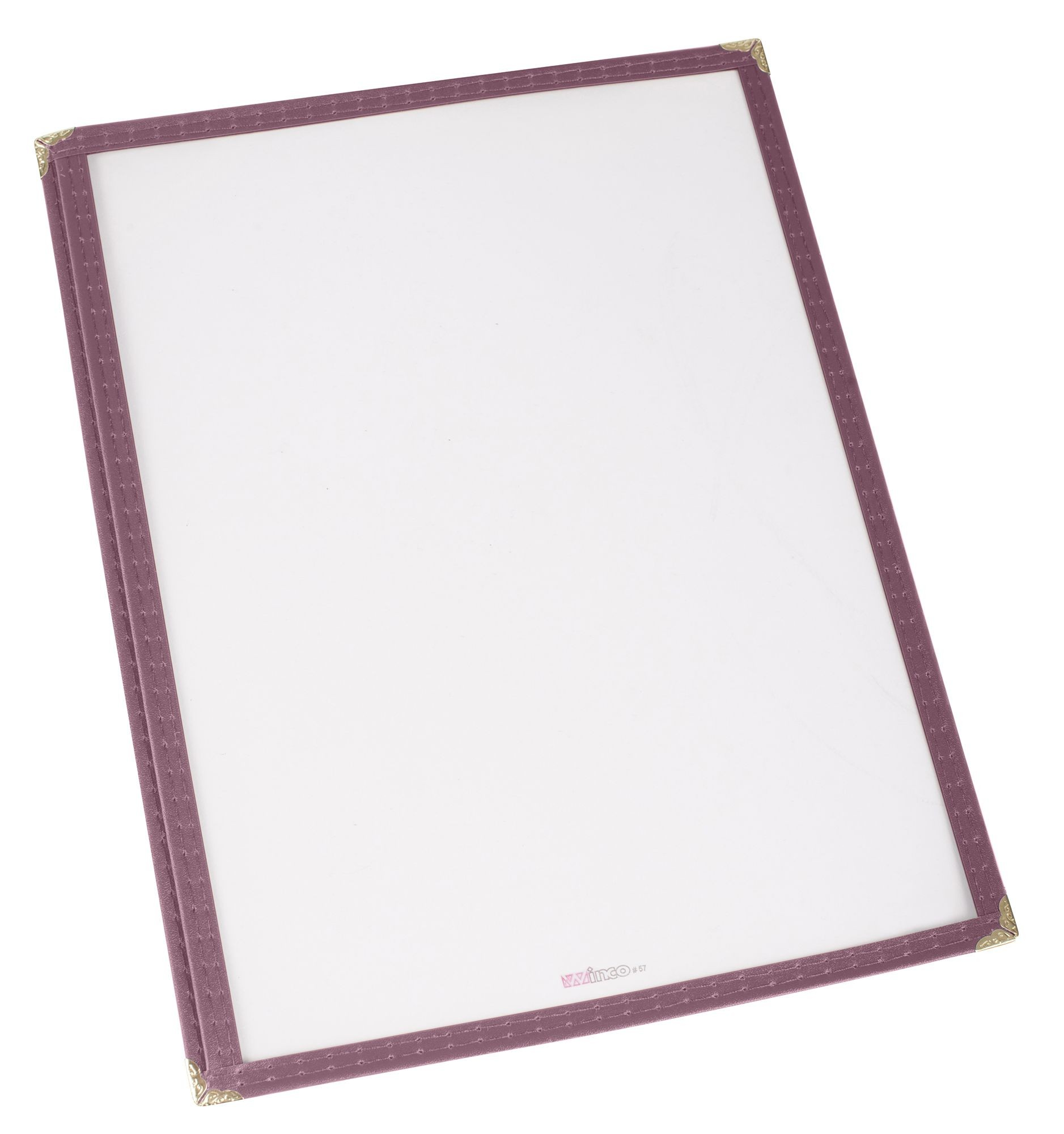"Winco PMC-14U Burgundy Single Fold Menu Cover 8-1/2"" x 14"""